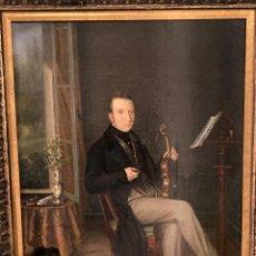 Arte: RETRATO DE MÚSICO CON VIOLÍN POR ROSALIE CARON (SENLIS 1791-PARÍS 1860). Lote 223412553
