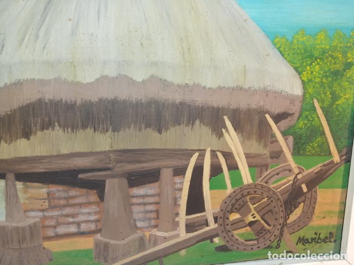 Arte: Oleo sobre lienzo. Hórreo Asturiano con carro de paja o heno. Firmado. 58 x 49 cm. - Foto 2 - 223459936