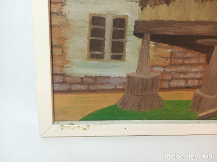 Arte: Oleo sobre lienzo. Hórreo Asturiano con carro de paja o heno. Firmado. 58 x 49 cm. - Foto 3 - 223459936