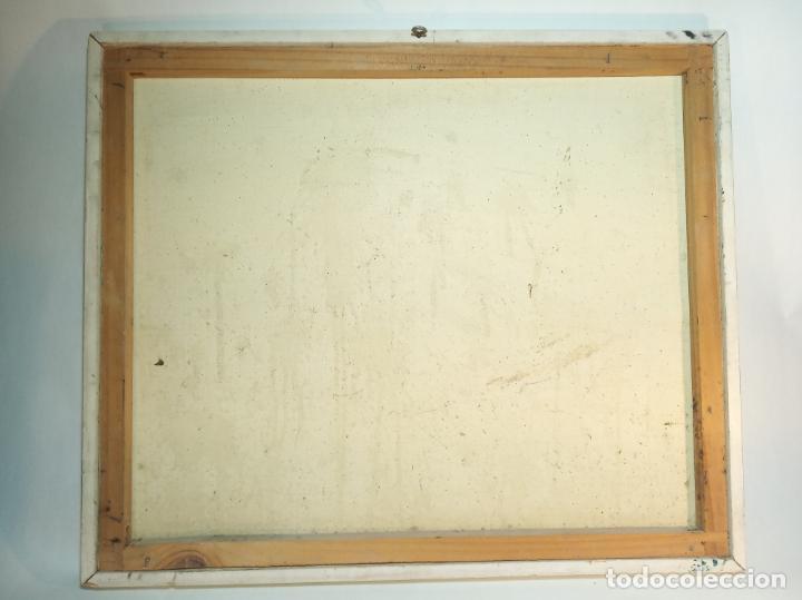 Arte: Oleo sobre lienzo. Hórreo Asturiano con carro de paja o heno. Firmado. 58 x 49 cm. - Foto 4 - 223459936