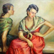 Arte: ESCUELA ESPAÑOLA DE APROXIMADAMENTE 1950. OLEO SOBRE TELA DE AUTOR ANONIMO. JOVENES CON MANTON. Lote 223536192