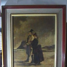 Arte: EXCELENTE ÓLEO SOBRE TABLA. LUIS PI GIBERT. S.XIX. CABALLERO CON PARAGUAS Y DAMA CON POLISÓN.. Lote 223572556