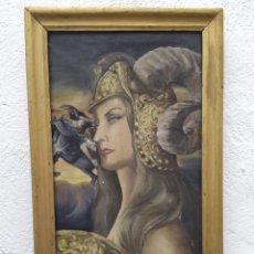 Arte: CUADRO AL ÓLEO SOBRE LIENZO DE GUERRERA DIOSA...FIRMADO Y CON MARCO. Lote 223612117