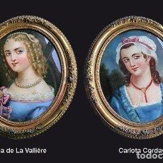 Arte: PAREJA DE RETRATOS AL ÓLEO, LUISA DE LA VALLIÈRE Y CARLOTA CORDAY. MAGNÍFICA EJECUCIÓN, SIGLO XIX. Lote 223630410