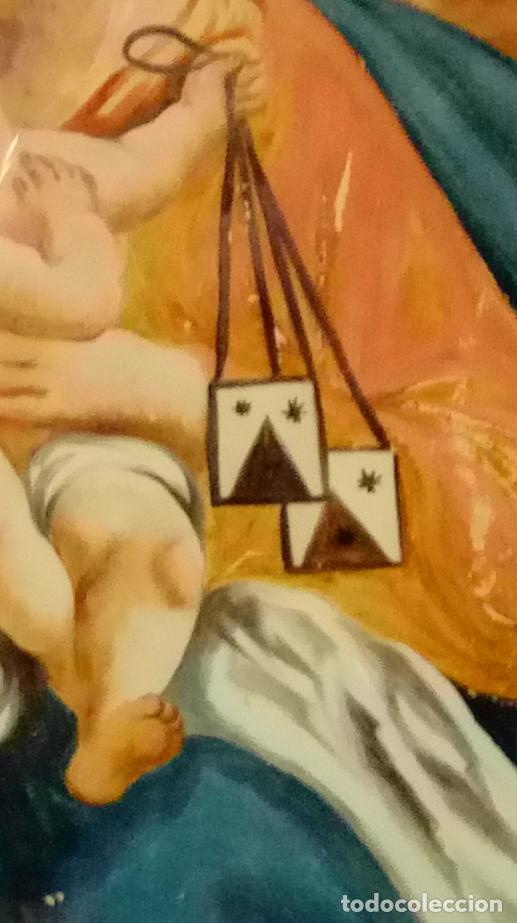 Arte: ÓLEO BAJO CRISTAL -VIRGEN DEL CARMEN-. ESC. BARROCA SEVILLANA FINALES S. XVII. DIM.- 53X43 CMS. - Foto 6 - 223697202