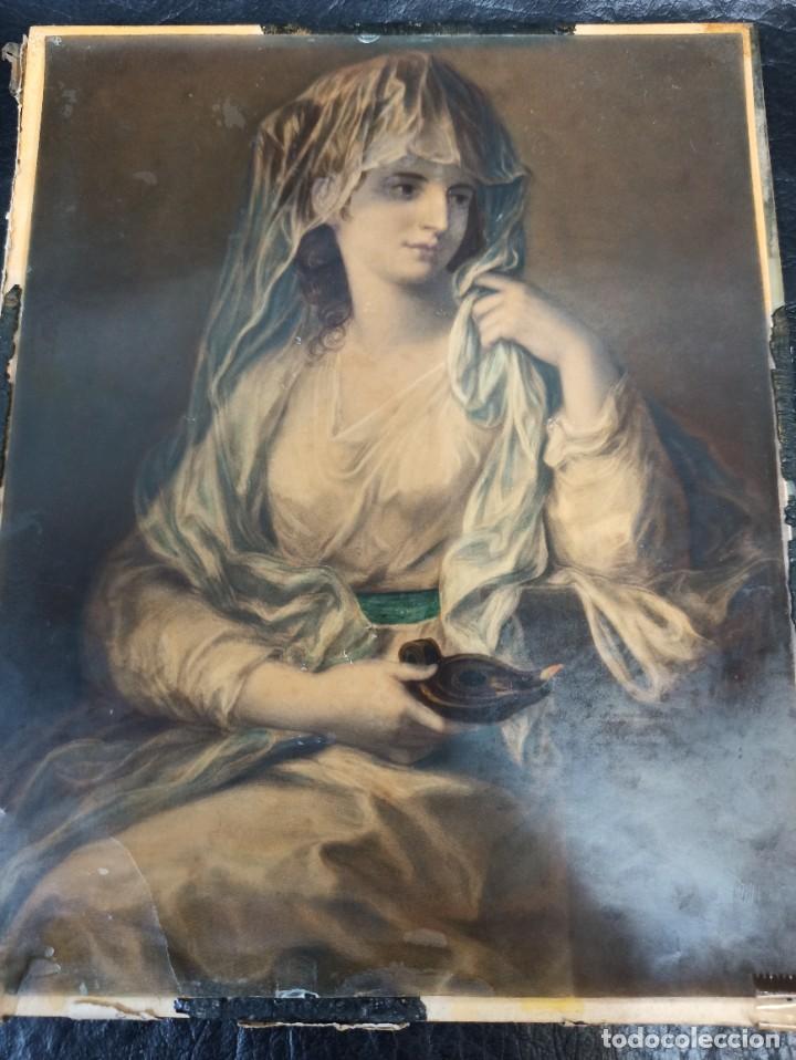 Arte: Pintura superpuesta. Alegoría de la parábola de las 10 vírgenes.Siglo XIX. Of. - Foto 2 - 223915327