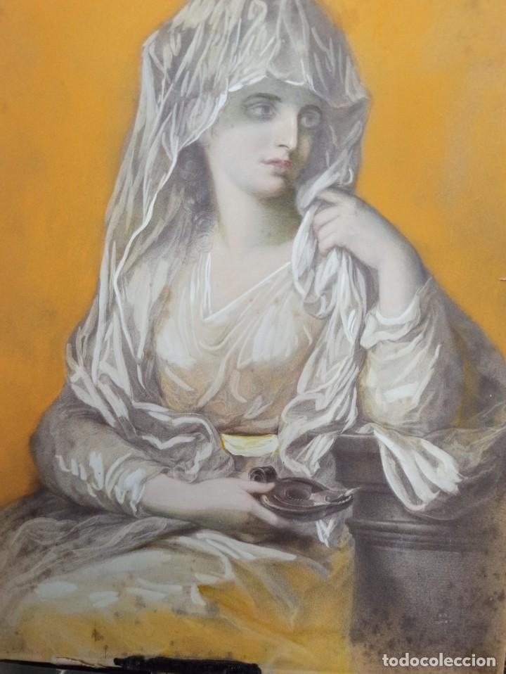 Arte: Pintura superpuesta. Alegoría de la parábola de las 10 vírgenes.Siglo XIX. Of. - Foto 4 - 223915327