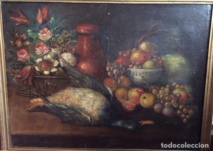 Arte: Óleo sobre lienzo representando Bodegón Naturaleza Muerta ,siglo XVIII - Foto 2 - 223930006