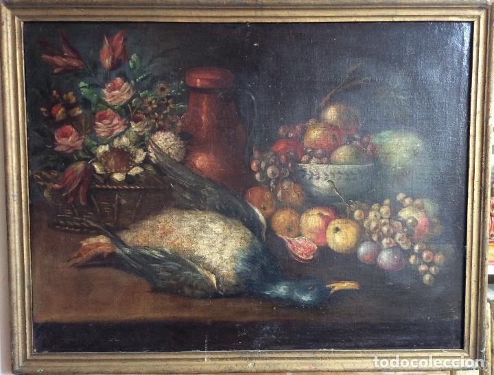 Arte: Óleo sobre lienzo representando Bodegón Naturaleza Muerta ,siglo XVIII - Foto 3 - 223930006
