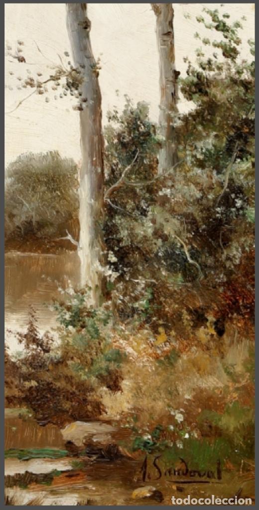 Arte: ANDRES SANDOVAL HUERTAS. SIGLO XIX. RIO EN OTOÑO. OLEO SOBRE TABLA 40X20,5. - Foto 2 - 223944642