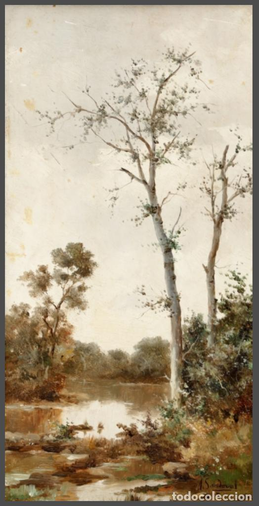 ANDRES SANDOVAL HUERTAS. SIGLO XIX. RIO EN OTOÑO. OLEO SOBRE TABLA 40X20,5. (Arte - Pintura - Pintura al Óleo Moderna siglo XIX)