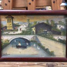 Arte: ANTIGUO ÓLEO DE TIPO NAIF SOBRE CARTÓN FIRMADO POR ARTISTA BELGA ENMARCADO EN MADERA. ÉPOCA 1930/40.. Lote 223960527