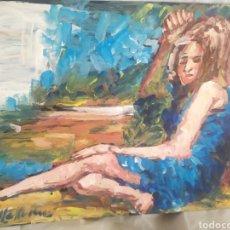 Arte: CHICA PENSATIVA (ORIGINAL). Lote 224053975