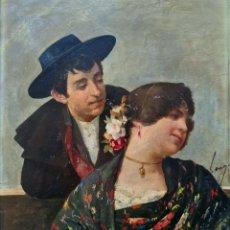 Arte: HORACIO LENGO (TORREMOLINOS 1838-MADRID 1890) PRECIOSA Y PEQUEÑA PINTURA ROMÁNTICA FIRMADA.. Lote 224114485