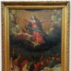 Arte: ÓLEO S/LIENZO -ASUNCIÓN DE LA VIRGEN-. ESCUELA ITALIANA S. XVII. DIM.- 101X68,750 CMS CON MARCO.. Lote 223847385