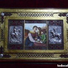 Arte: OBRA ÚNICA, OLEO SOBRE MADERA, ADORNOS REPUJADOS, HIERRO, ARTESANAL (59X41 CM). Lote 224341220