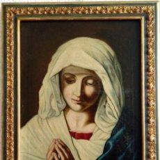 Arte: ÓLEO S/LIENZO -VIRGEN ORANTE-. ESCUELA ITALIANA SASSOFERRATO S. XVIII-XIX. DIM.- 45.5X37 CMS. Lote 224525291