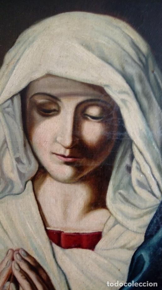 Arte: ÓLEO S/LIENZO -VIRGEN ORANTE-. ESCUELA ITALIANA SASSOFERRATO S. XVIII-XIX. DIM.- 45.5X37 CMS - Foto 3 - 224525291