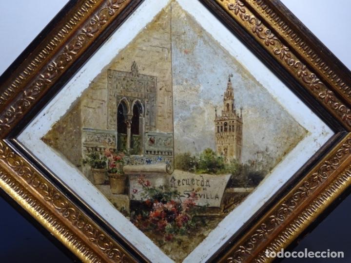 ÓLEO SOBRE AZULEJO DE SIGLO XIX CON FIRMA ILEGIBLE.SEVILLA. (Arte - Pintura - Pintura al Óleo Moderna siglo XIX)