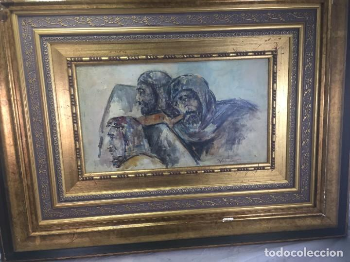 Arte: José Vela Zanetti, oleo sobre Tablex, serie Cid Campeador. firmado con marco 36 x 21 cms. - Foto 2 - 224601463