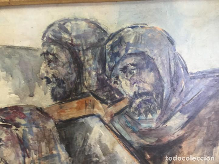 Arte: José Vela Zanetti, oleo sobre Tablex, serie Cid Campeador. firmado con marco 36 x 21 cms. - Foto 5 - 224601463