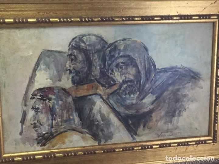 Arte: José Vela Zanetti, oleo sobre Tablex, serie Cid Campeador. firmado con marco 36 x 21 cms. - Foto 6 - 224601463