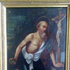 Arte: SAN JERÓNIMO, ÓLEO SOBRE COBRE S. XVIII. Lote 193391690
