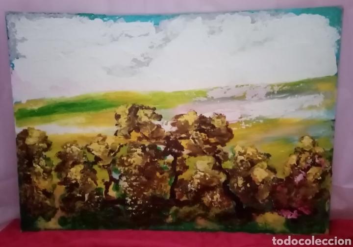 Arte: Estupenda pintura horizontal. Horizontes (3). Óleo sobre cartón. 75cm x 52.5cm - Foto 2 - 224742503
