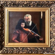 Art: ANTIGUA PINTURA ORIGINAL ,LA CLASE DE MUSICA , OLEO SOBRE LIENZO FIRMADO Y DATADO. Lote 215571697