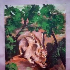 Arte: PRECIOSA PINTURA CON DIVERSIDAD DE COLORES ENCENDIDOS AL ATARDECER. LIEBRES. ÓLEO SOBRE TABLA. 40X30. Lote 224837793
