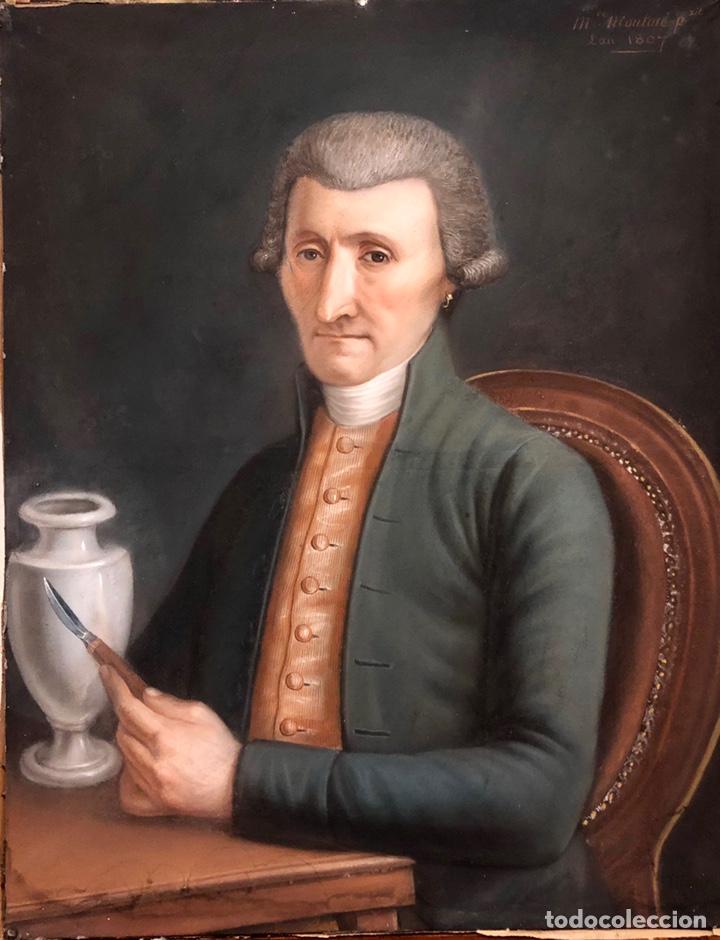 MAURICE MOUTON ( ETUZ, 1765 - BESANCON, 1840?) RETRATO DE MAESTRO CERAMISTA (Arte - Pintura - Pintura al Óleo Antigua siglo XVIII)