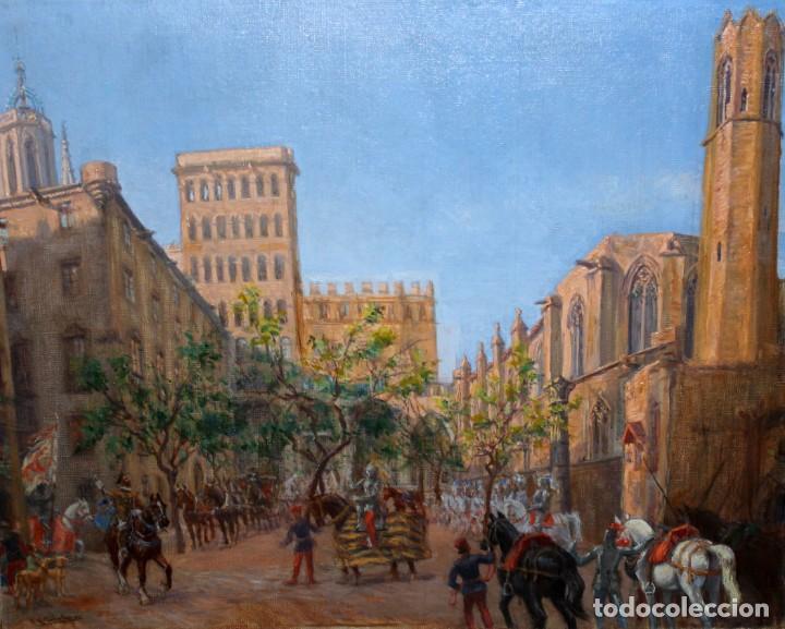 FRANCISCO RAFAEL SEGURA Y MONFORTE (1875 - 1954) OLEO SOBRE TELA. DESFILE MILITAR. PLAZA DEL REY (Arte - Pintura - Pintura al Óleo Contemporánea )