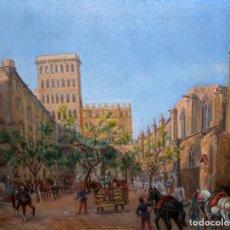 Arte: FRANCISCO RAFAEL SEGURA Y MONFORTE (1875 - 1954) OLEO SOBRE TELA. DESFILE MILITAR. PLAZA DEL REY. Lote 224864486