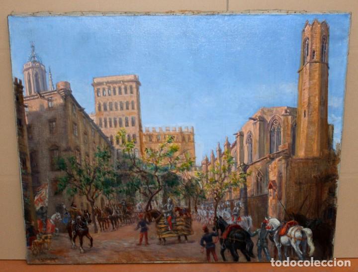 Arte: FRANCISCO RAFAEL SEGURA Y MONFORTE (1875 - 1954) OLEO SOBRE TELA. DESFILE MILITAR. PLAZA DEL REY - Foto 2 - 224864486