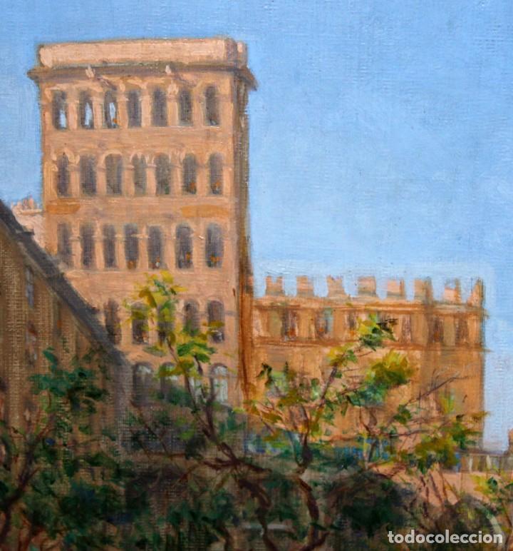 Arte: FRANCISCO RAFAEL SEGURA Y MONFORTE (1875 - 1954) OLEO SOBRE TELA. DESFILE MILITAR. PLAZA DEL REY - Foto 3 - 224864486