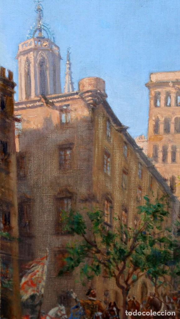 Arte: FRANCISCO RAFAEL SEGURA Y MONFORTE (1875 - 1954) OLEO SOBRE TELA. DESFILE MILITAR. PLAZA DEL REY - Foto 4 - 224864486