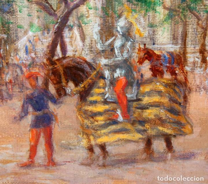 Arte: FRANCISCO RAFAEL SEGURA Y MONFORTE (1875 - 1954) OLEO SOBRE TELA. DESFILE MILITAR. PLAZA DEL REY - Foto 6 - 224864486