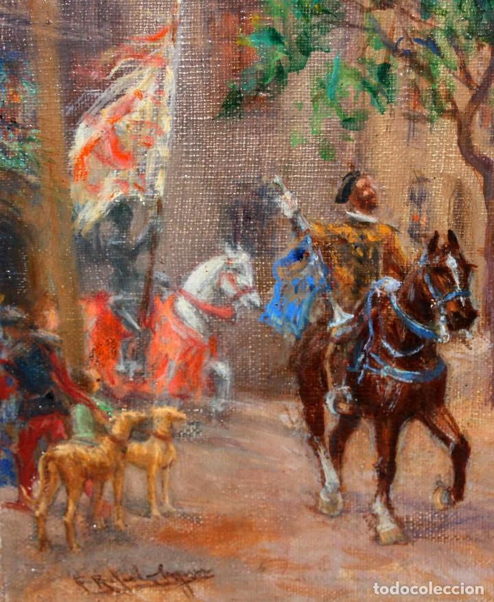 Arte: FRANCISCO RAFAEL SEGURA Y MONFORTE (1875 - 1954) OLEO SOBRE TELA. DESFILE MILITAR. PLAZA DEL REY - Foto 7 - 224864486