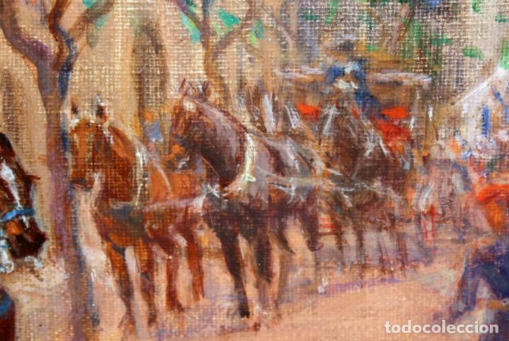 Arte: FRANCISCO RAFAEL SEGURA Y MONFORTE (1875 - 1954) OLEO SOBRE TELA. DESFILE MILITAR. PLAZA DEL REY - Foto 8 - 224864486