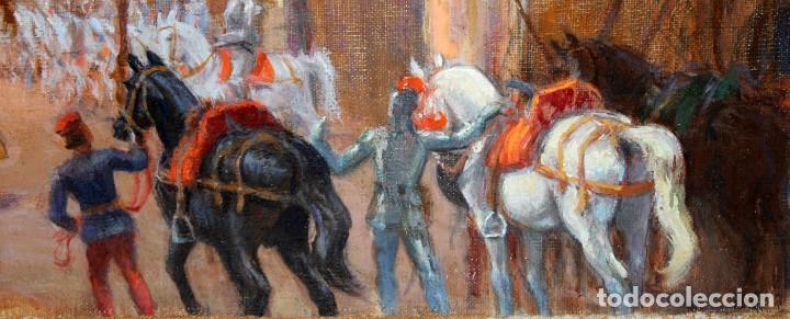 Arte: FRANCISCO RAFAEL SEGURA Y MONFORTE (1875 - 1954) OLEO SOBRE TELA. DESFILE MILITAR. PLAZA DEL REY - Foto 9 - 224864486