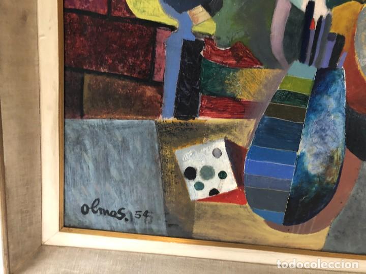 Arte: MAGNIFICA GUITARRA Y ESCENA CUBISTA, FIRMADA OLMOS, AÑOS 50 - Foto 2 - 224894553