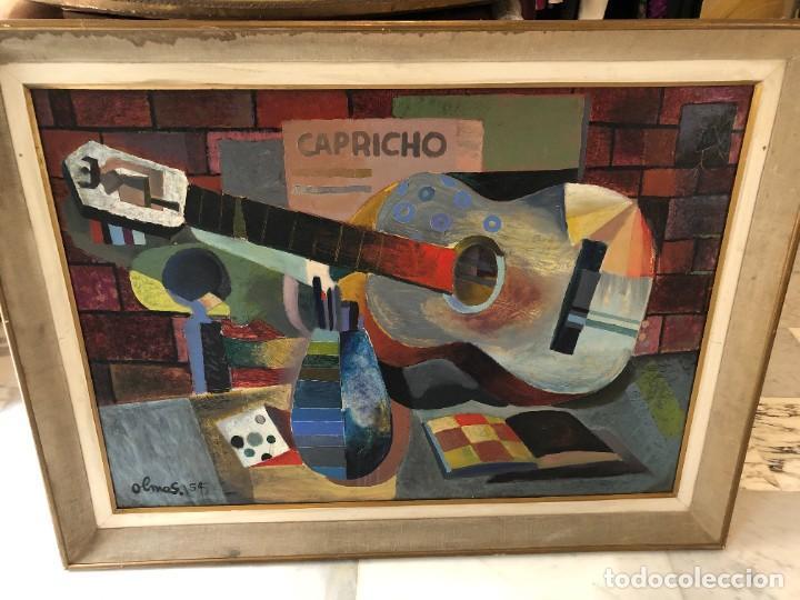 Arte: MAGNIFICA GUITARRA Y ESCENA CUBISTA, FIRMADA OLMOS, AÑOS 50 - Foto 3 - 224894553