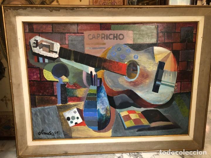 Arte: MAGNIFICA GUITARRA Y ESCENA CUBISTA, FIRMADA OLMOS, AÑOS 50 - Foto 5 - 224894553