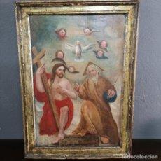 Arte: OLEO SOBRE TABLA DIVINA TRINIDAD PINTURA POPULAR ESCUELA VALENCIANA S XVII. Lote 224952050