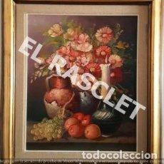 Arte: ANTIGÚO BODEGON MIXTO FLORAL EN OLEO SOBRE TELA - FIRMADO –. Lote 224959980