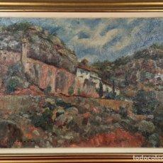 Arte: PAISAJE RURAL. ÓLEO SOBRE TABLA. FIRMADO LL. PALLARÉS. 1941.. Lote 224961940