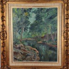 Arte: PAISAJE CON RIO. ÓLEO SOBRE LIENZO. RAMON LLOVET MISEROL. 1945.. Lote 224966820