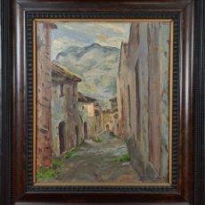 Arte: CALLE DE PUEBLO. ÓLEO SOBRE TABLA. FIRMADO ANTONI LLOBET. 1949.. Lote 224984366