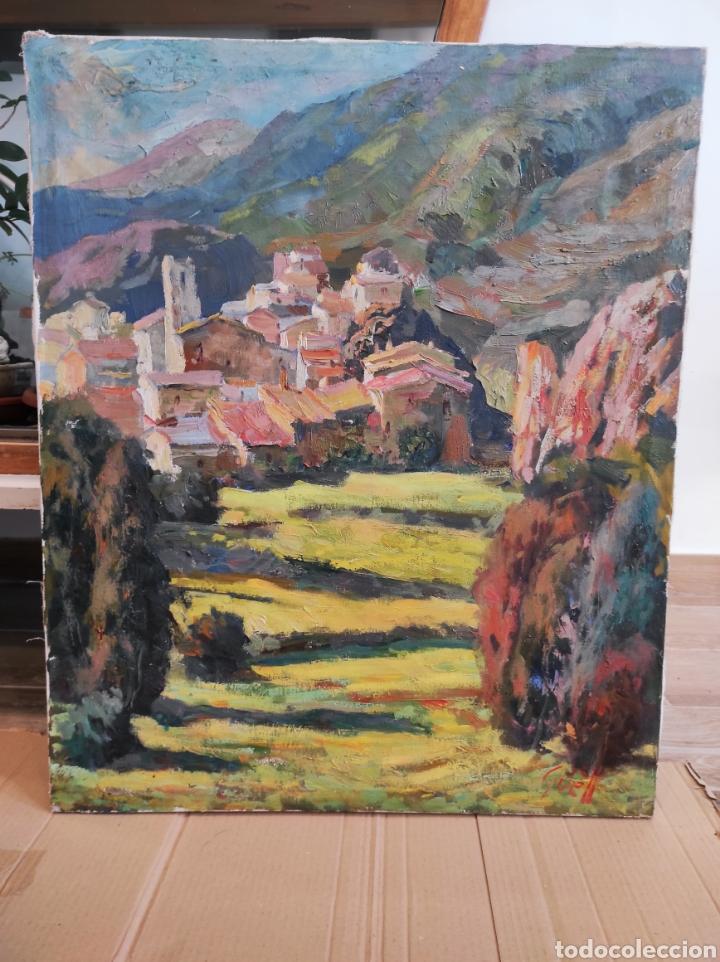 PINTURA CATALANA OLEO SOBRE TELA, FIRMA GUELL CASTELLAR DE N'HUG. 54X65CM (Arte - Pintura - Pintura al Óleo Contemporánea )