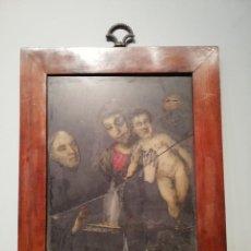 Arte: '' VIRGEN CON NIÑO Y SANTO '' ÓLEO SOBRE PLANCHA DE PIZARRA S. XVII. Lote 225039856